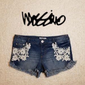 Mossimo- Distressed denim shorts w/crochet detail